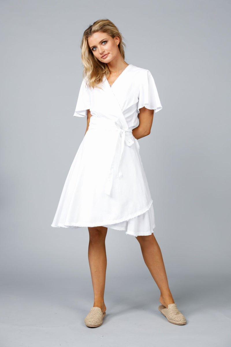 MANDALAY WRAP DRESS WHITE
