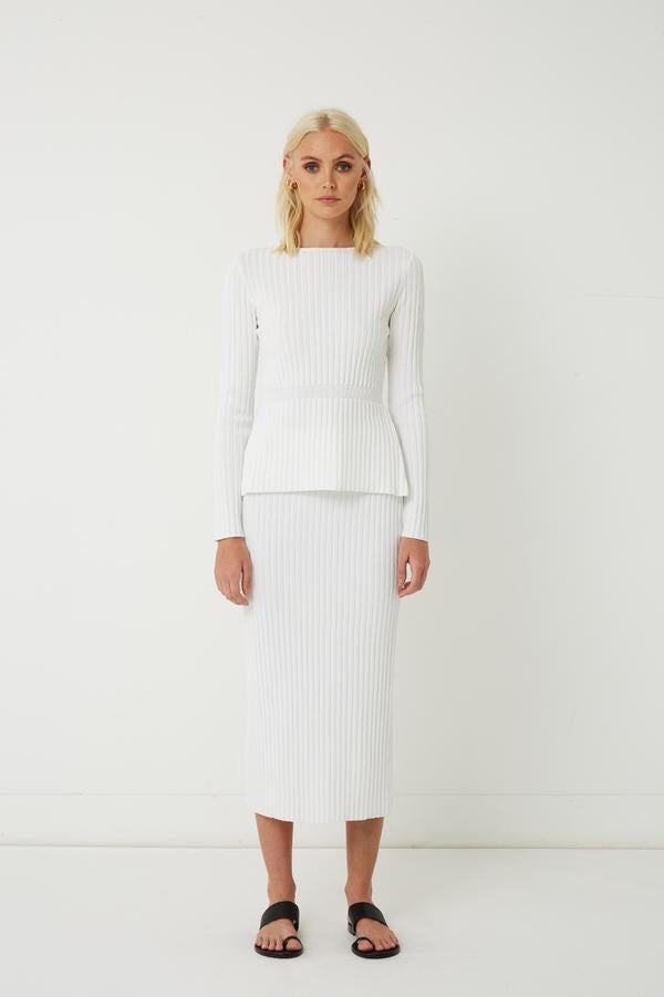 RIB KNIT MIDI SKIRT WHITE