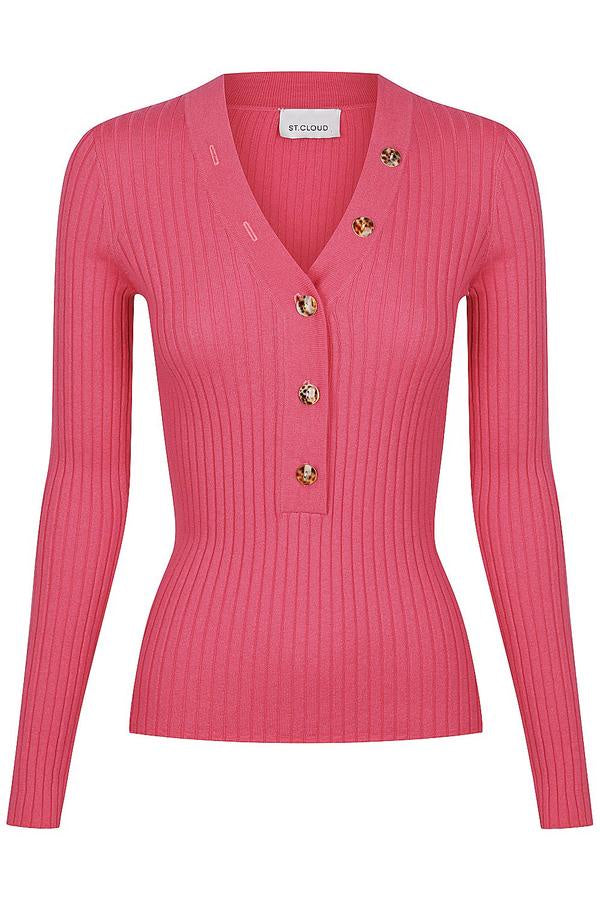 CARNATION LONG SLEEVE NECK BUTTON KNIT