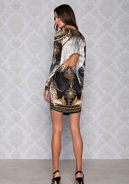 PANTHER BAROQUE BODYCON DRESS.