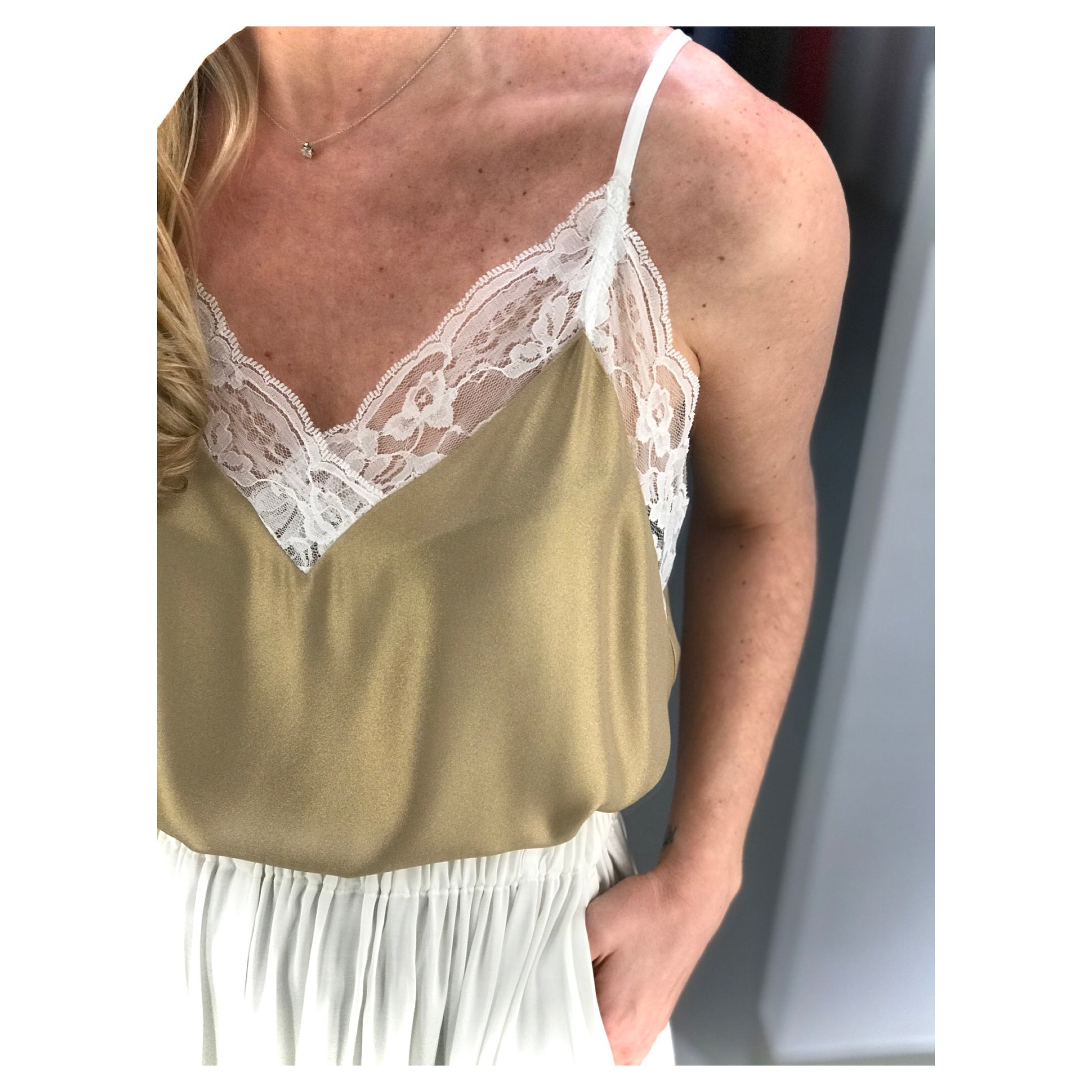 LACE TRIMMED GOLD CAMISOLE.