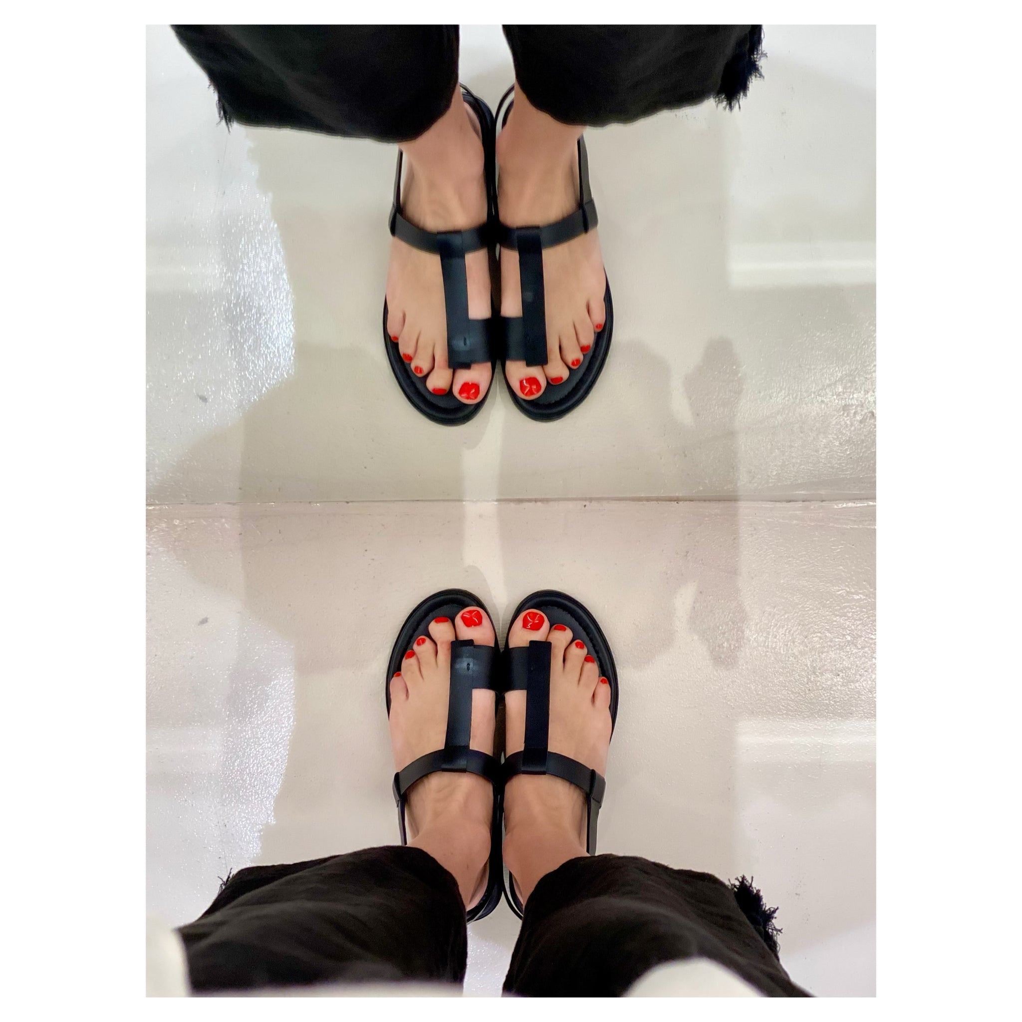 CYCLADIC LAND BLACK FLAT SHOES.