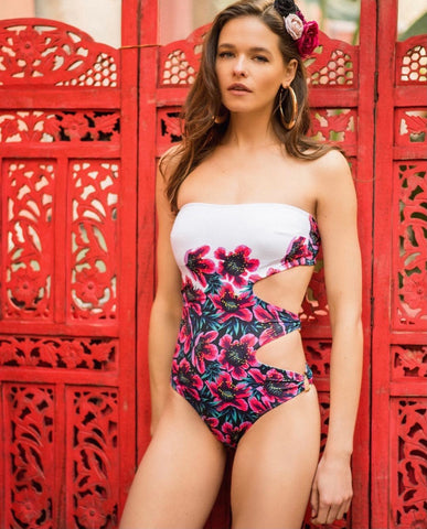 FLOWER STRAPLESS SWIMSUIT.