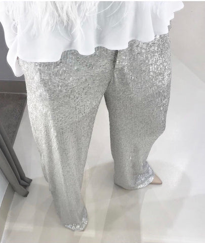 SILVER SEQUINED PANTS.