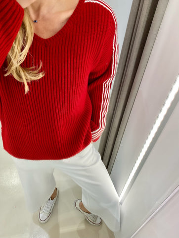 RED COLLEGE SWEATER.
