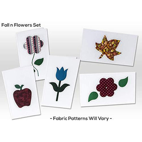 Note Cards, FALL N FLOWERS, Hand Sewn, (5 Pack Assorted)