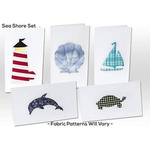 Note Cards, SEA SHORE, Hand Sewn, (5 Pack Assorted)