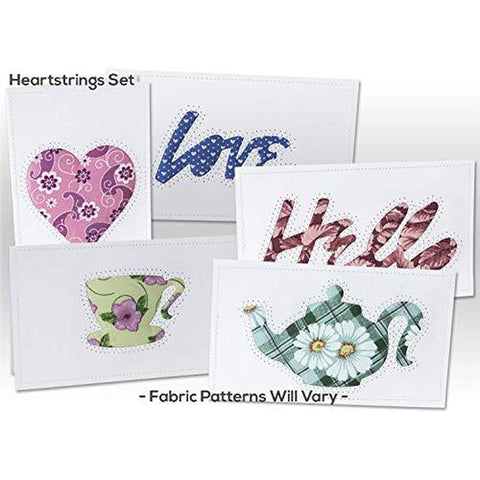 Note Cards, HEARTSTRINGS, Hand Sewn, (5 Pack Assorted)