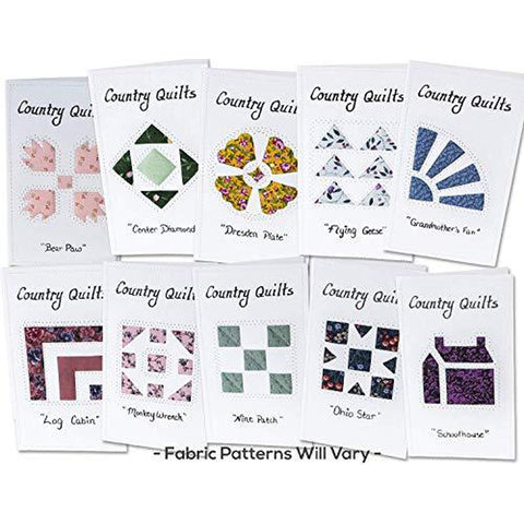 Note Cards, COUNTRY QUILTS, Hand Sewn, (10 Pack Assorted)