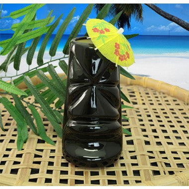 Ceramic Gun Metal Black Tiki Mug - 12 ounce