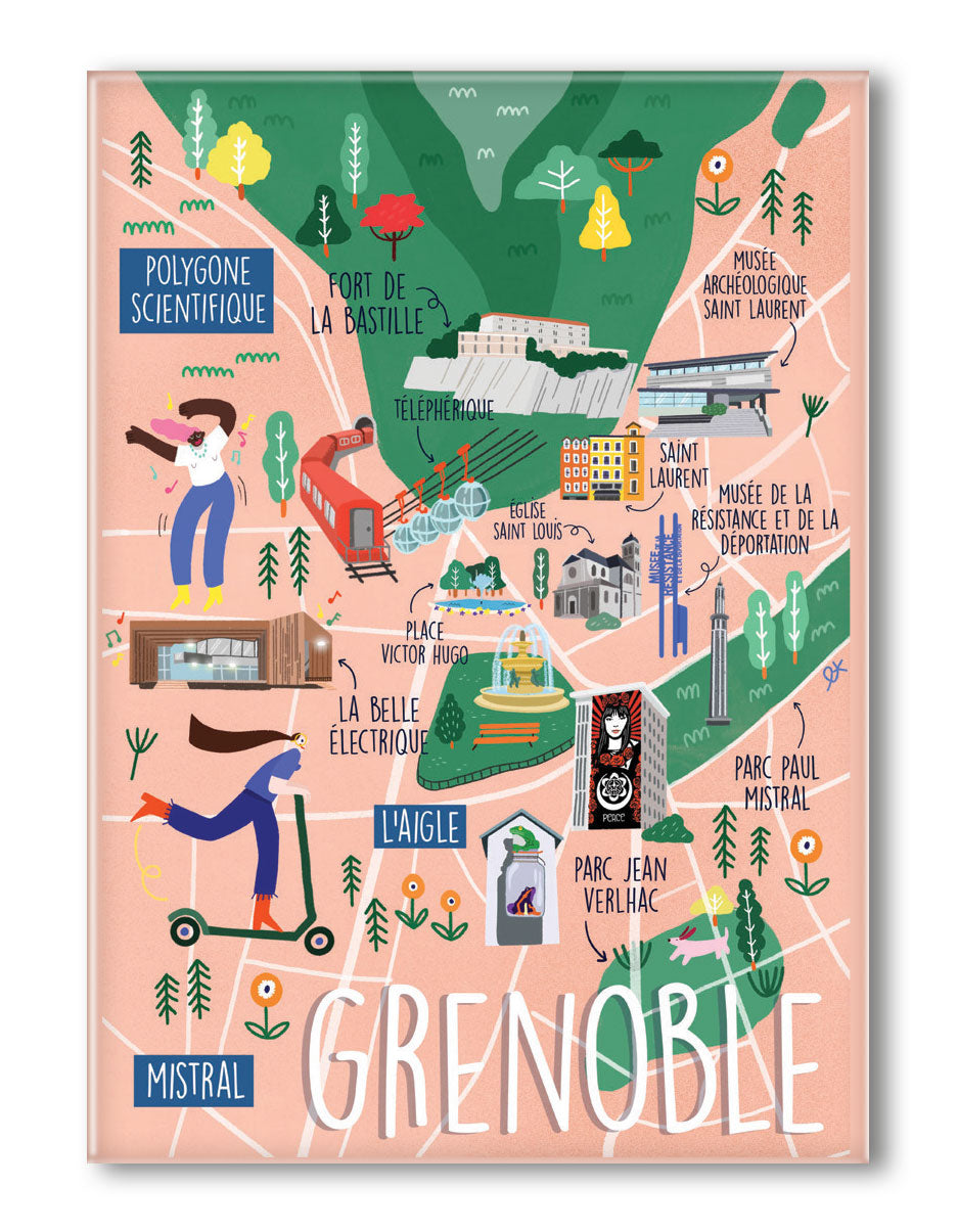 MAGNET GRAND FORMAT CARTE DE GRENOBLE