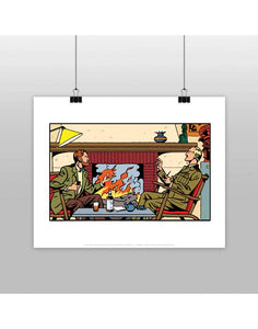 AFFICHE BLAKE ET MORTIMER DISCUSSION AU COIN DU FEU