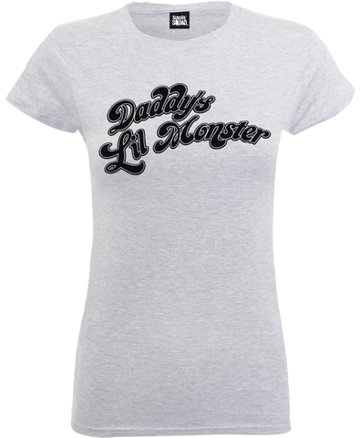 Suicide Squad - Daddy's Lil Monster Ladies Heather Grey T-Shirt - BAY 57
