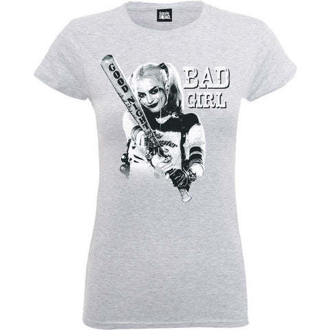 Suicide Squad - Bad Girl Official Ladyfit Grey T-Shirt - BAY 57