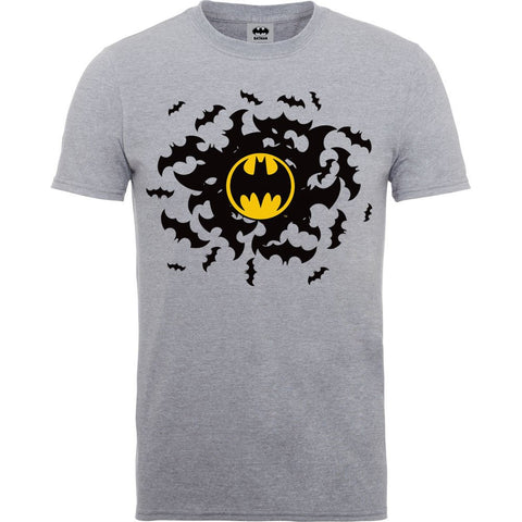 Batman - Bat Swirl Yellow Logo Grey T-Shirt - BAY 57