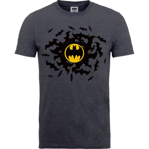 Batman - Bat Swirl Yellow Logo Tweed T-Shirt - BAY 57