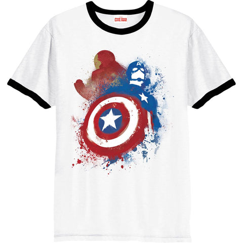 Captain America - Civil War White Ringer Painted VS T-Shirt - BAY 57