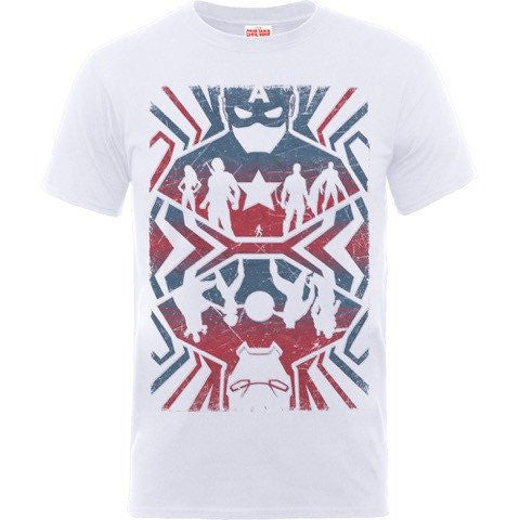 Captain America - Civil War Mirrored Avengers T-Shirt White - BAY 57