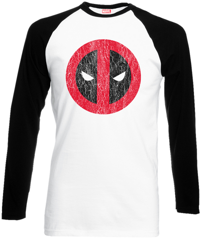 Deadpool - Cracked Logo Long Sleeved T-Shirt - BAY 57