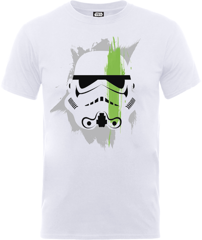 Star Wars Paint Stroke Helment Official Licensed White T-Shirt - BAY 57