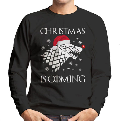 Christmas is Coming Stark DirewolfSigil Game Of Thrones Parody Men's Sweatshirt - BAY 57  - 1