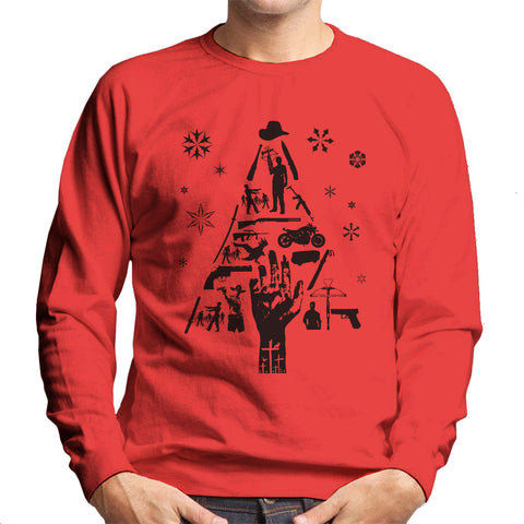 Walking Dead Christmas Tree Silhouette Parody Men's Sweatshirt - BAY 57