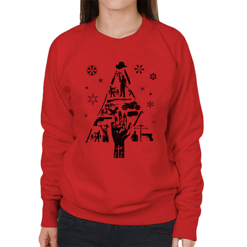 Walking Dead Christmas Tree Silhouette Parody Women's Sweatshirt - BAY 57