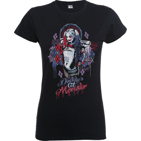 Suicide Squad - Daddy's Lil Monster Official Ladyfit Black T-Shirt - BAY 57