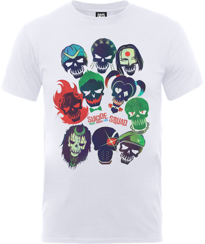 Suicide Squad Logo Official Unisex Band of Skulls White T-Shirt - BAY 57