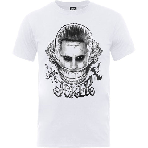 Suicide Squad Joker Smile Official Unisex White T-Shirt - BAY 57