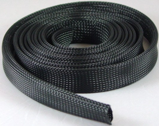 "Braided Expandable Wire Sleeving 3/4"" 10 ft Roll Black"