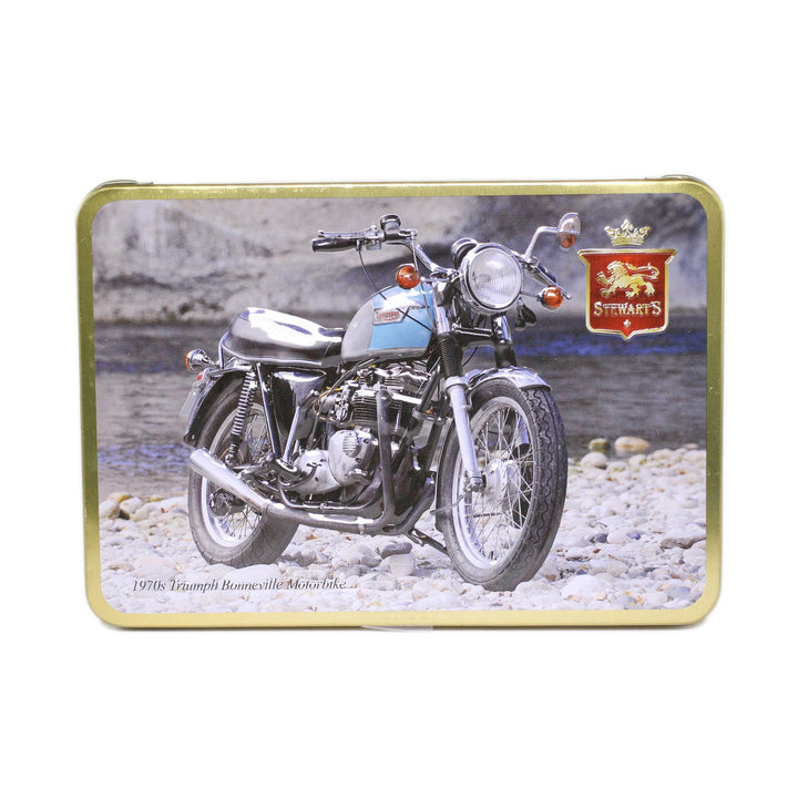 Stewart's Scottish Shortbread Tin: 1970s Triumph Bonneville Motorbike; 150g
