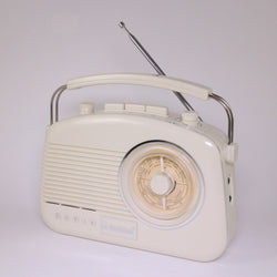 1960s Style Retro Transistor Radio MW/LW/FM, Baby Brighton by Steepletone, Cream