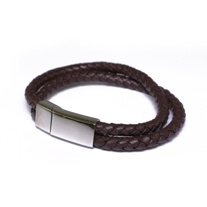 Men's brown leather two row bracelet