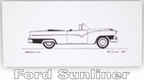 Pack of Four Classic Car Greetings Cards: Ford Sunliner