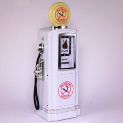 50s Style Gas Pump AM/FM Radio with Alarm Clock & Light by Steepletone, White