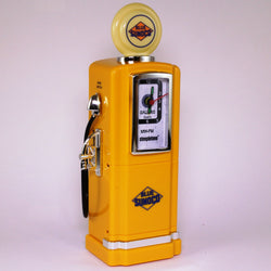 50s Style Gas Pump AM/FM Radio with Alarm Clock & Light by Steepletone, Yellow