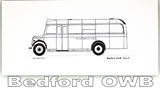 Pack of Four Buses & Trucks Greetings Cards: Bedford OB Bus
