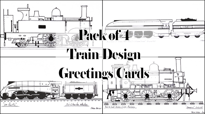 Pack of Four Train Greetings Cards