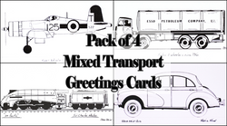 Pack of Four Mixed Vehicles and Transport Greetings Cards