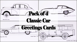 Pack of Four Classic Car Greetings Cards