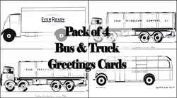 Pack of Four Buses & Trucks Greetings Cards