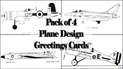 Pack of Four Planes Greetings Cards