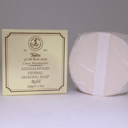 Sandalwood Luxury Herbal Shaving Soap, Refill for Wooden Bowl 100g, Taylor of Old Bond St