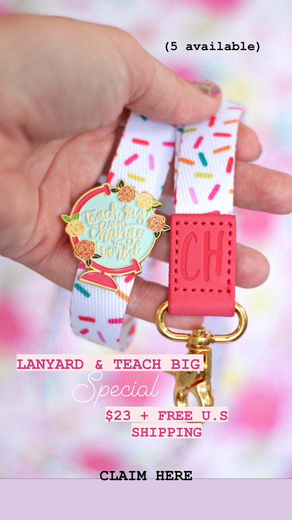Virtual Show Sale: Sprinkle Lanyard and Teach Big Enamel pin set