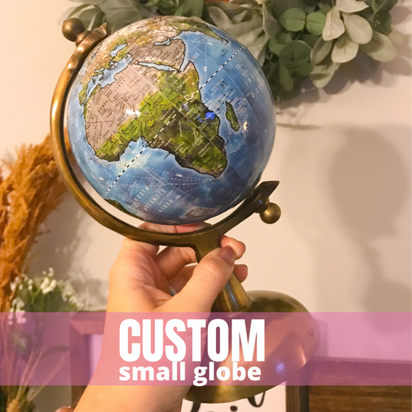 Reserved for Lindsay: Custom Small painted globe