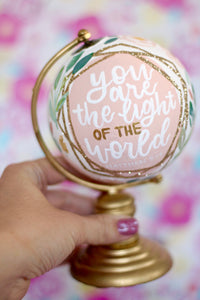 "Day 14: Gold/White ""You are the light of the World"" Painted Mini Globe"