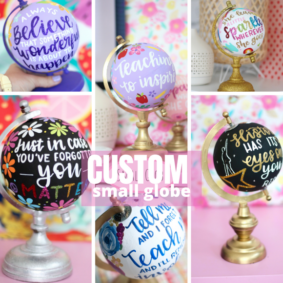 Reserved for Katie: Custom Small painted globe