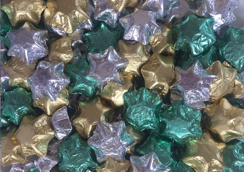 Christmas Stars - Silver, Gold & Green
