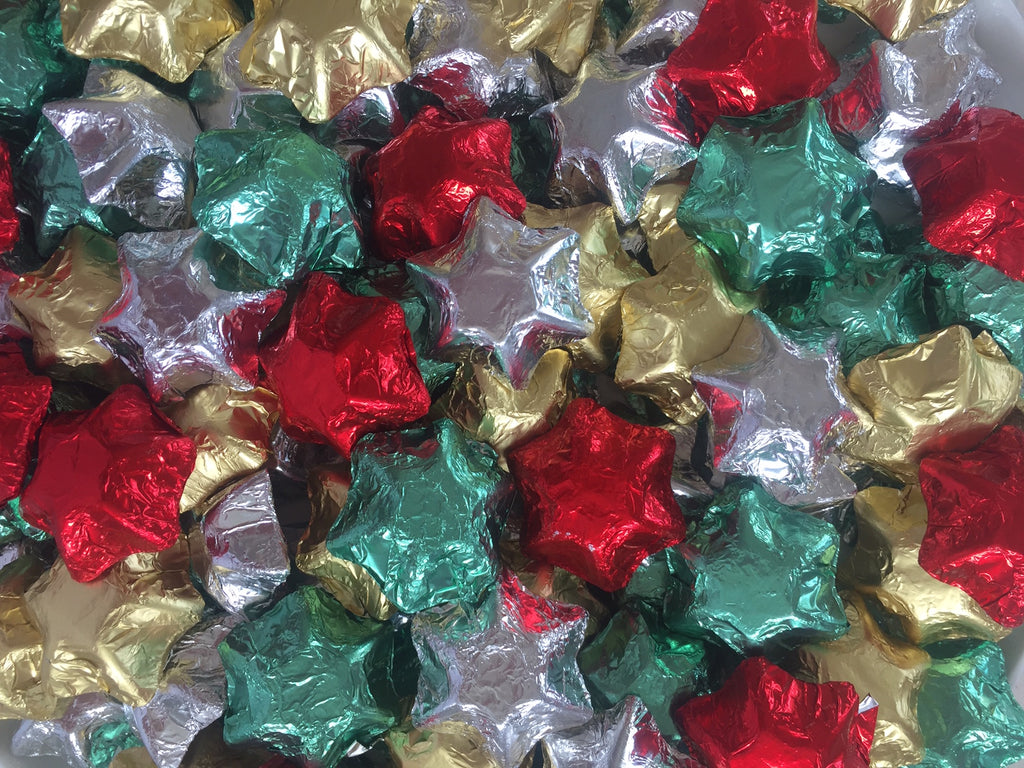 Christmas Stars - Silver, Gold, Green & Red